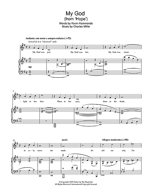 My God (from Hope) Sheet Music