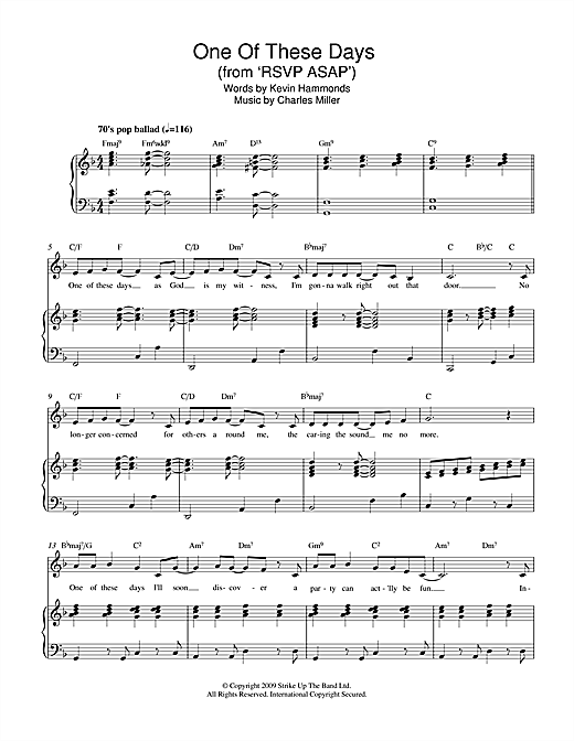 One Of These Days (from RSVP ASAP) Sheet Music