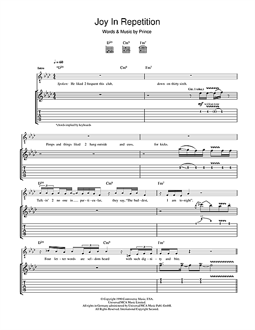 Joy In Repetition Sheet Music
