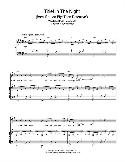Partition piano Thief In The Night (from Brenda Bly de Miller & Hammonds - Piano Voix