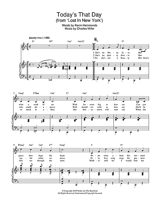 Today's That Day (from Lost In New York) Sheet Music