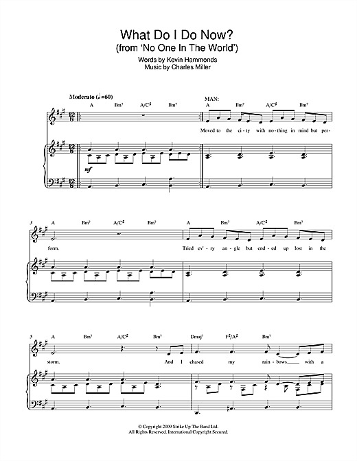 Partition piano What Do I Do Now? (from No One In The World) de Miller & Hammonds - Piano Voix