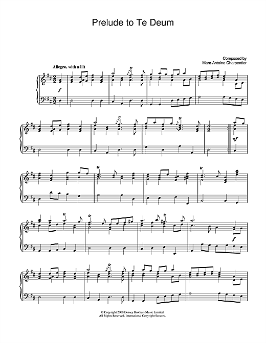 Partition piano Prelude (from Te Deum) de Marc-Antoine Charpentier - Piano Solo