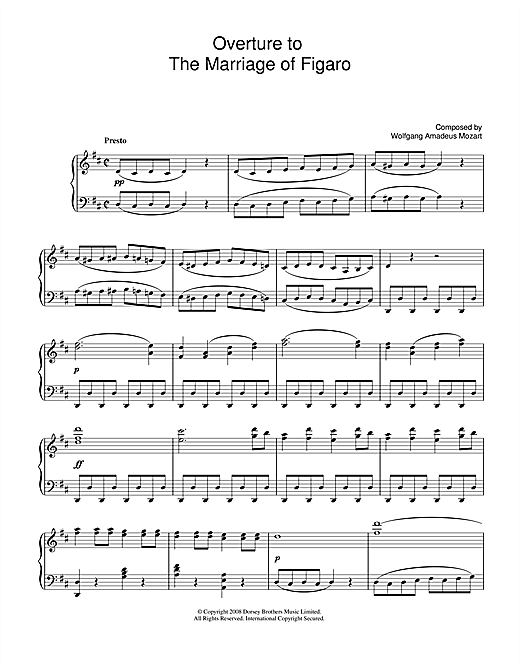 Partition piano Overture To The Marriage Of Figaro de Wolfgang Amadeus Mozart - Piano Solo