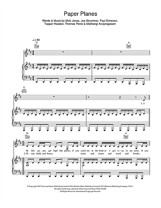 Paper Planes Sheet Music