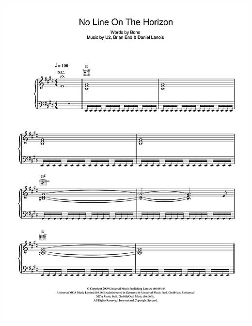 No Line On The Horizon Sheet Music
