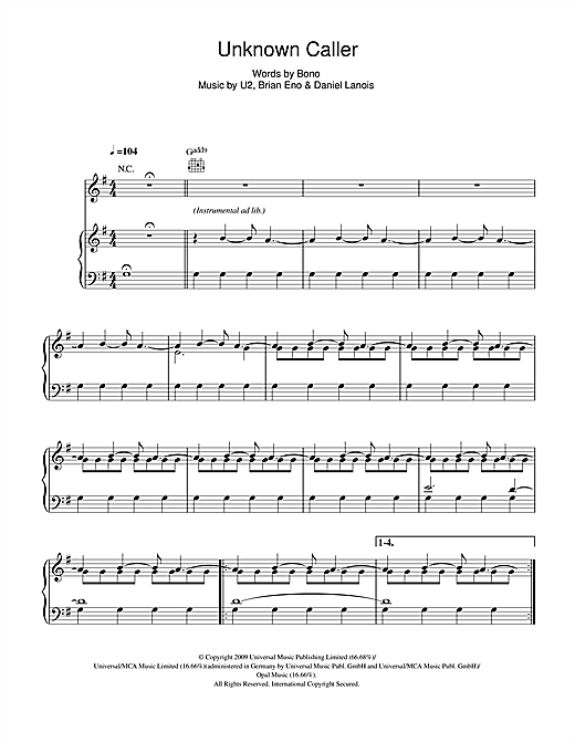 Unknown Caller Sheet Music