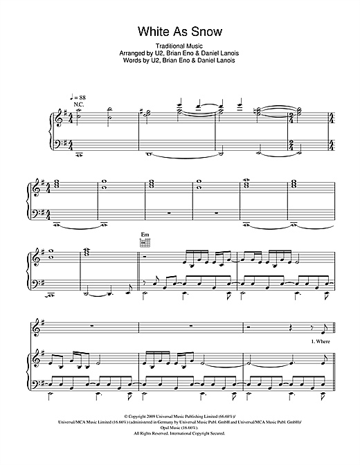 White As Snow Sheet Music