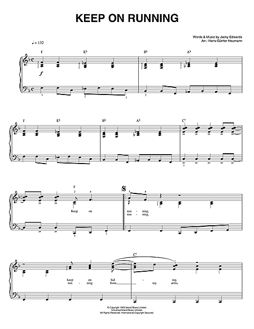 Keep On Running Sheet Music