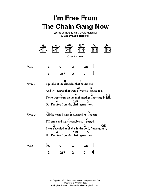 I'm Free From The Chain Gang Now Sheet Music