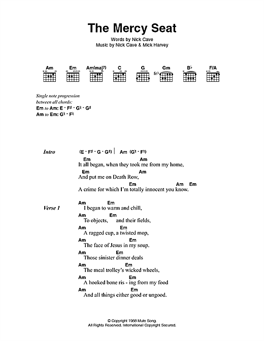 The Mercy Seat sheet music by Johnny Cash (Lyrics & Chords – 46362)