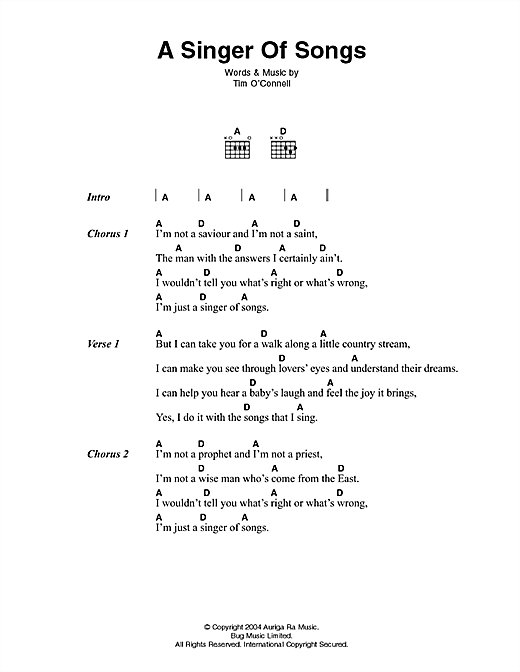 A Singer Of Songs Sheet Music