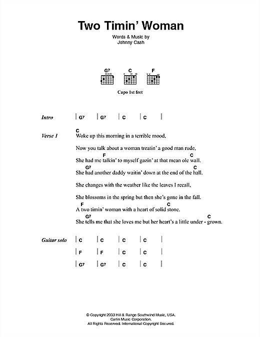 Two Timin' Woman (Guitar Chords/Lyrics)