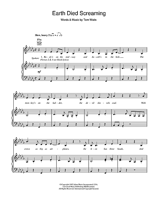 Earth Died Screaming Sheet Music