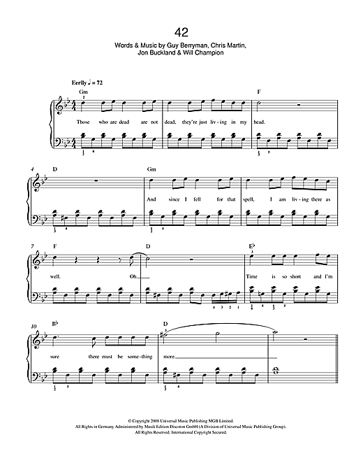 Partition piano 42 de Coldplay - Autre