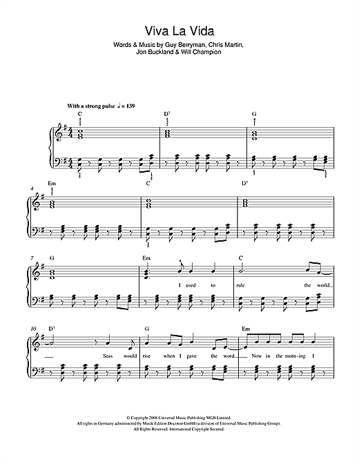Viva La Vida Sheet Music By Coldplay Beginner Piano 46410