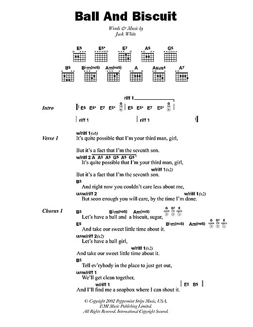 Ball And Biscuit (Guitar Chords/Lyrics)