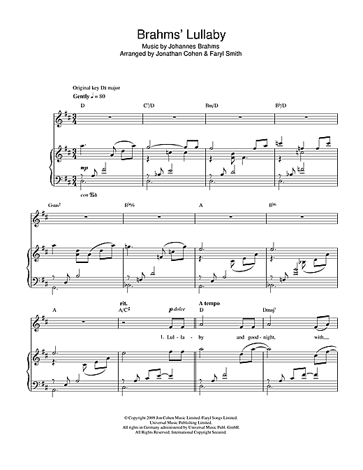 Brahms' Lullaby Sheet Music