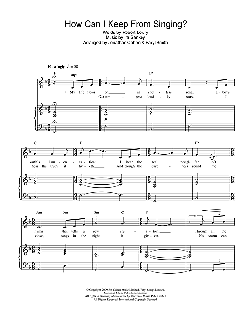 How Can I Keep From Singing? Sheet Music