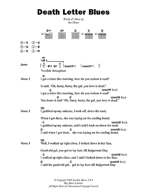 Death letter blues sheet music by son house lyrics for Classic house chords