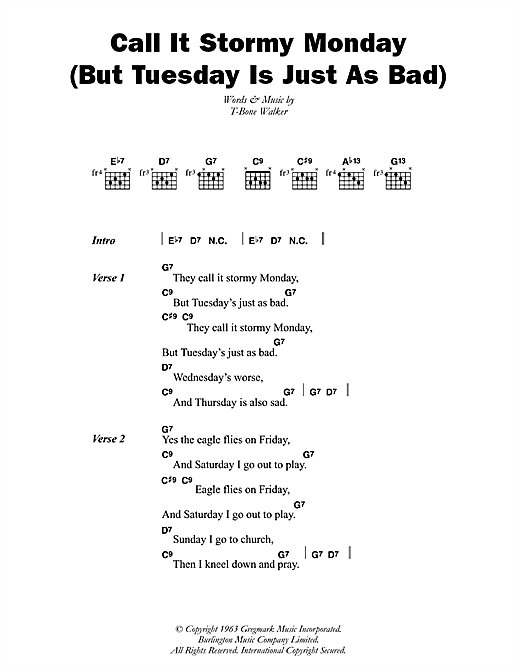 Call It Stormy Monday (But Tuesday Is Just As Bad) Sheet Music