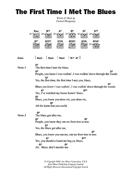 The First Time I Met The Blues Sheet Music