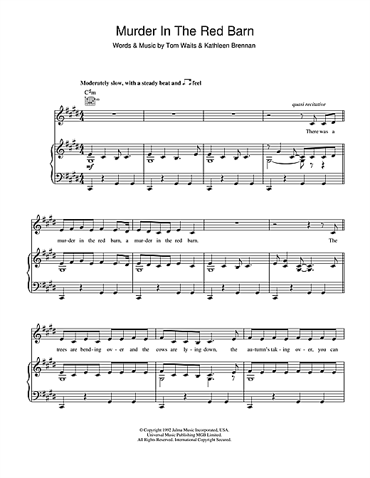 Murder In The Red Barn Sheet Music