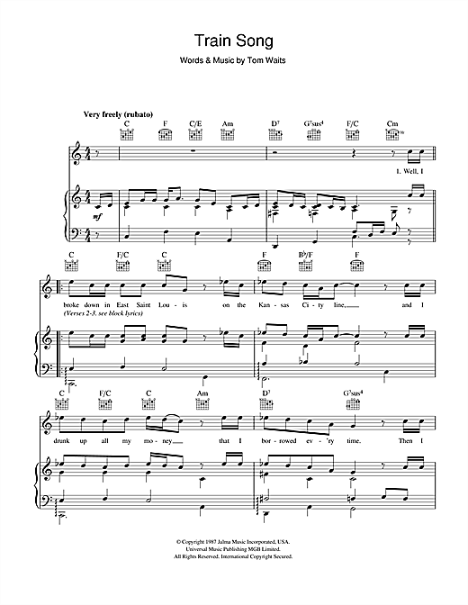Train Song Sheet Music