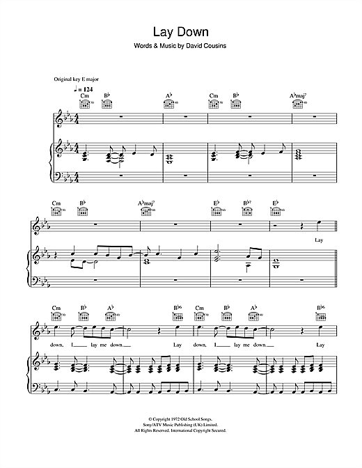 Lay Down Sheet Music