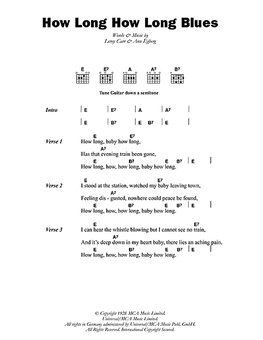 How Long How Long Blues (Guitar Chords/Lyrics)