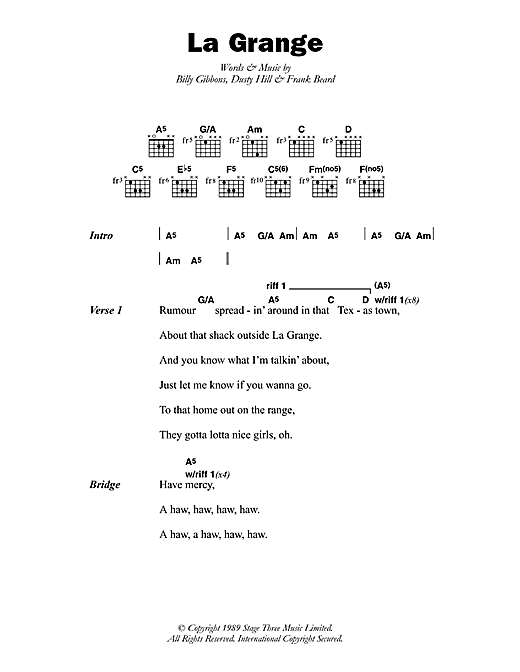 La Grange sheet music by ZZ Top (Lyrics u0026 Chords u2013 46547)