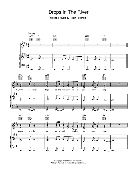 Drops In The River Sheet Music