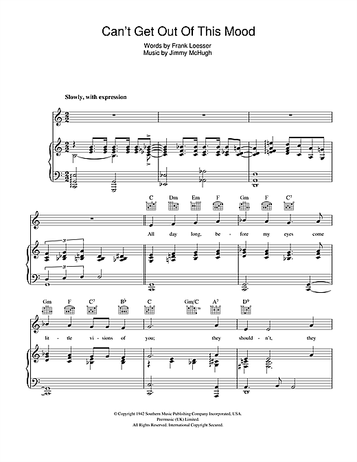 Can't Get Out Of This Mood Sheet Music