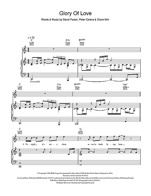 Glory Of Love Sheet Music