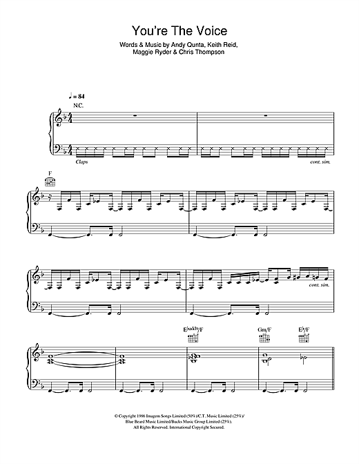 You're The Voice Sheet Music