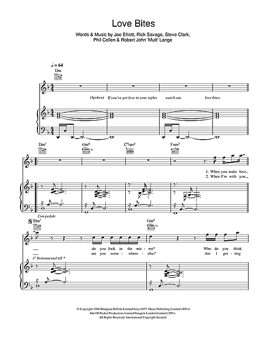 Love Bites Sheet Music