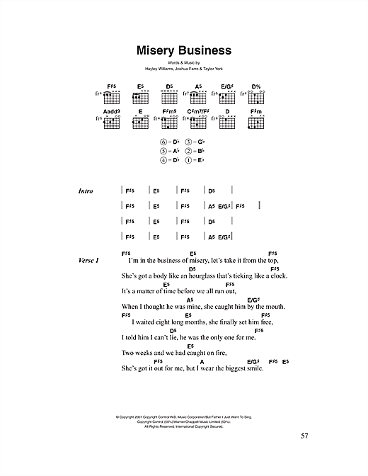 Misery Business Sheet Music By Paramore Lyrics Chords 46598