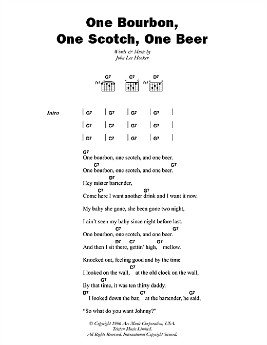 One Bourbon, One Scotch, One Beer sheet music by John Lee Hooker ...