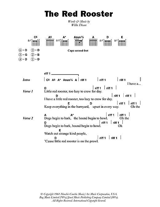 Little Red Rooster (Guitar Chords/Lyrics)