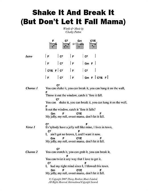 Shake It And Break It (But Don't Let It Fall Mama) Sheet Music
