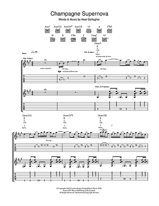 Champagne Supernova Sheet Music