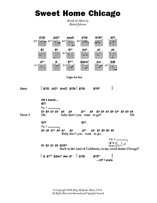 Sweet Home Chicago Sheet Music By Robert Johnson Lyrics Chords