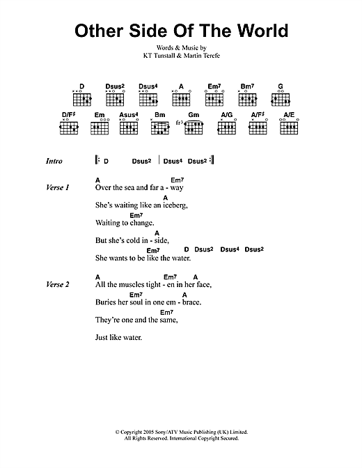 Other Side Of The World (Guitar Chords/Lyrics)