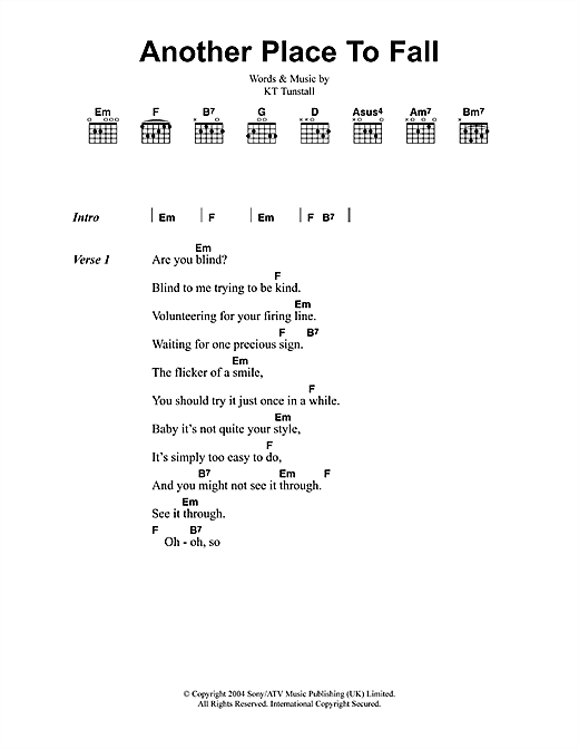Another Place To Fall (Guitar Chords/Lyrics)