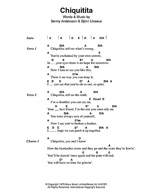 Chiquitita Sheet Music