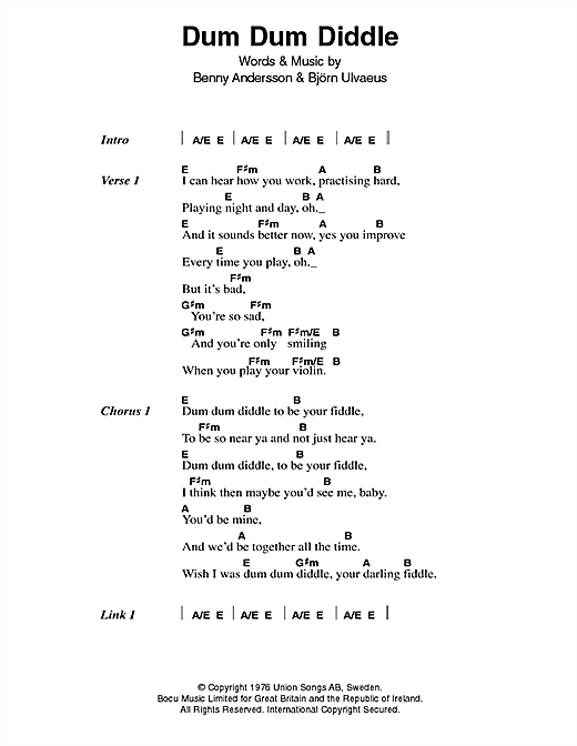 Dum Dum Diddle (Guitar Chords/Lyrics)