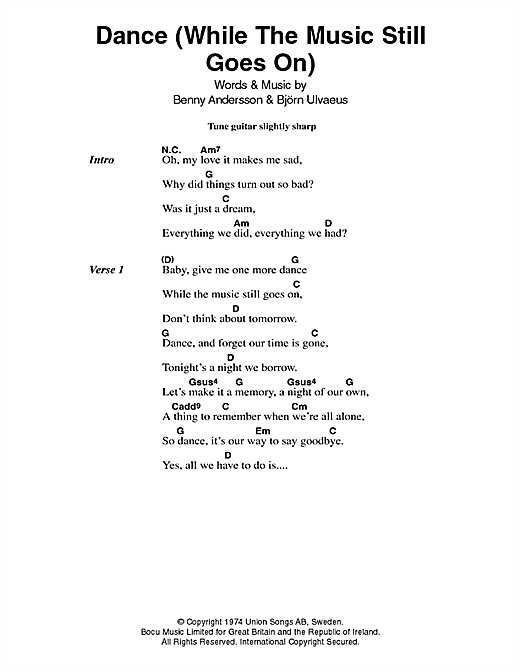 Dance (While The Music Still Goes On) (Guitar Chords/Lyrics)