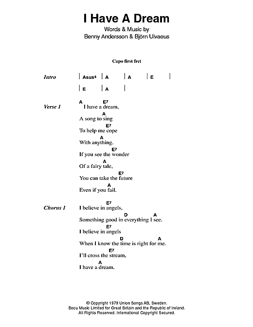 I Have A Dream Sheet Music By Abba Lyrics Chords 46697