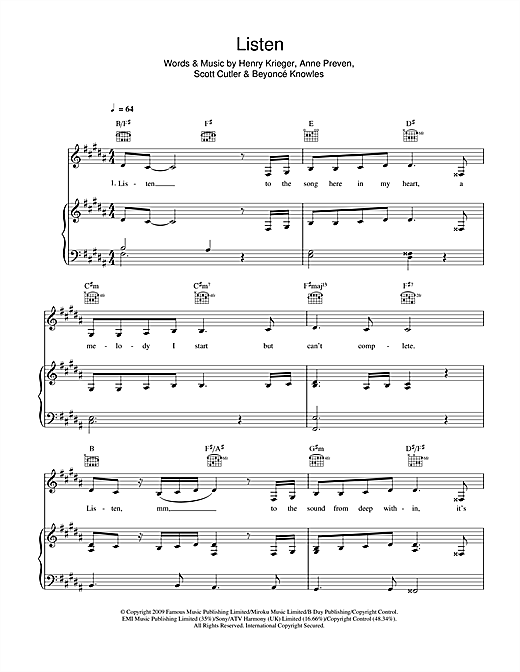Listen (from Dreamgirls) Sheet Music