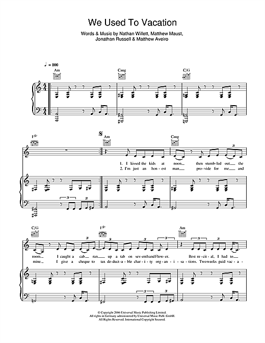 We Used To Vacation Sheet Music
